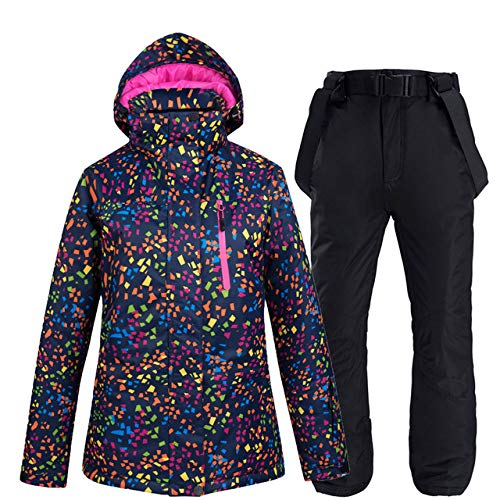 ZYJANO Combinaison de Ski New Thick Warm Ski Suit Femmes imperméable Coupe-Vent Ski et Snowboard Veste Pantalon Ensemble Femme Snow Costumes Vêtements de Plein air, Couleur, 9, XXL