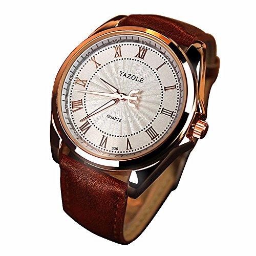 Cuero YAZOLE los números romanos del reloj de Fashin de Brown de los hombres del reloj esfera blanca Relojes ocasionales para los hombres