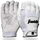 Franklin Sports 20965F2 Shok-Sorb X Batting Gloves, White/White, Adult Medium