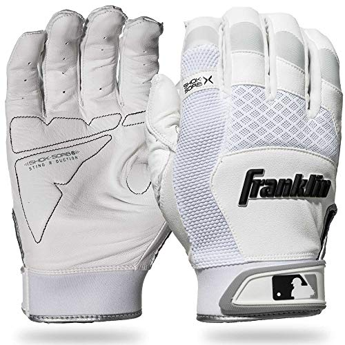 Franklin Sports 20965F4 Shok-Sorb X Batting Gloves, White/White, Adult Large