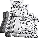 KH-Haushaltshandel 4 pezzi biancheria da letto Seersucker in microfibra (60344) (135 x 200 + 80 x 80 cm), colore grigio, a cuori, non necessita di stiratura