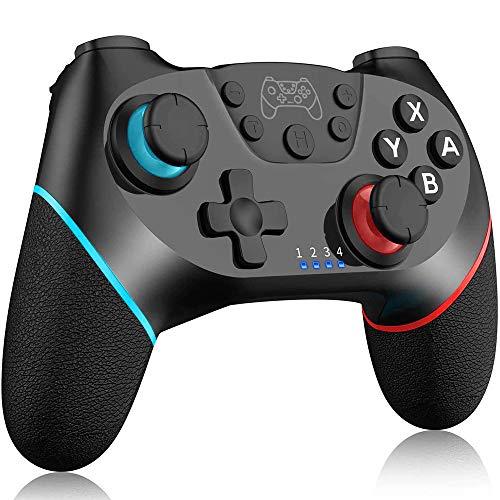 TUTUO Wireless Controller für Switch, Switch Pro Controlle Gamepad mit Wiederaufladbarer Akku, Dual Shock und Turbo Funktionen mit 6-Achsen Gyrosko