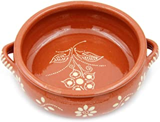 """Traditional Portuguese Hand-painted Vintage Clay Terracotta Cooking Pot Cazuela (N.2 7"""" Diameter)"""