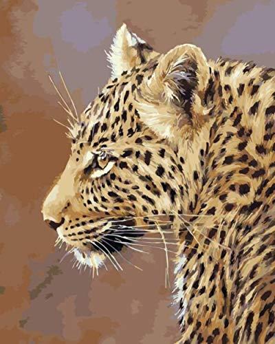 DOORWD Ölgemälde durch Zahlen Gepard DIY handgemalte Bilder Leinwand Malerei Wohnzimmer Wand Kunst Home Decor Geschenk - 40x50cm ohne Rahmen