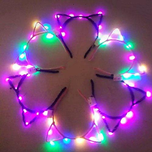 Serre-tête Lumineux Chat Bandeaux Serre tête LED fluo pour femme pour fête décoration