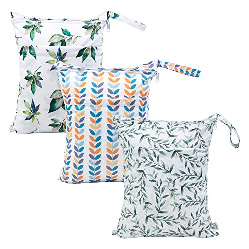 Babygoal Wet Dry Bags for Baby Cloth Diapers, Washable Travel Bags, Beach, Pool, Gym Bag for Swimsuits & Wet Clothes with Two Zippered Pockets 3 Pack 3LN08
