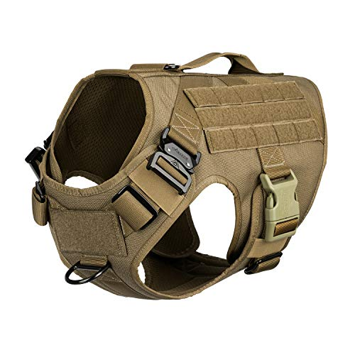"""ICEFANG Tactical Dog Harness with Vertical Handle,2X Metal Buckle,Working Dog Molle Vest,Non Pulling Front Leash Clip,Hook and Loop for Dog Patch (L (Chest 28""""-35""""), Coyote Brown)"""