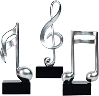 HomeBerry Musical Note Music Note Figurine Statue Sculpture Home Decor Decoration Gift Arts Crafts Hand Painted Polyreisn  19cmH Set of 3 Silver