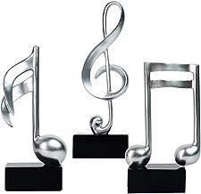 Amoy-Art Figurillas Decorativas con Diseño Nota Musical Escultura Figura Regalo Estatua Decoración para el Hogar Sala de Estar Oficina Musical Note Figurine Statue Casa Resina 19cmH S/3 Plata