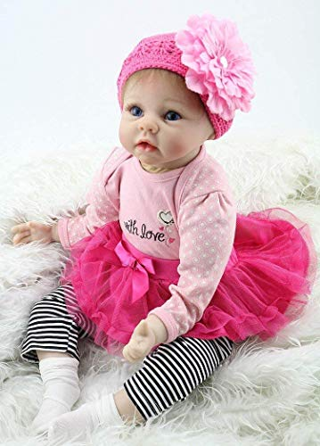 ZXYMUU 22' Reborn Baby Doll Girl Realistic Silicone Vinyl Body Handmade Big Eyes Real Life Rose Red Outfit Pink Cute Doll Gift Set for Ages 3+