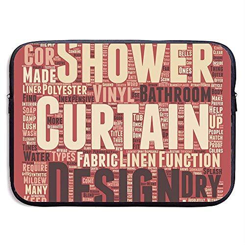 Maak een splash met uw douchegordijnen tekst 15 inch Laptop Sleeve Bag Draagbare Rits Laptop Bag Tablet Bag