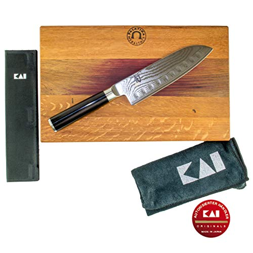 Kai Shun Classic cadeauset DM-W19   ultrascherp Santoku (DM-0718) met groef   18 cm lemmet   + houten plank 30x18 cm & lemmetbescherming   VK: 299- €