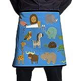 Katrine Store Jungle Animals and Birds Set FFla-mmingo Gazelle Delantal de Medio Cuerpo Personalizado con Bolsillos Unisex para Cocina Restaurante BBQ