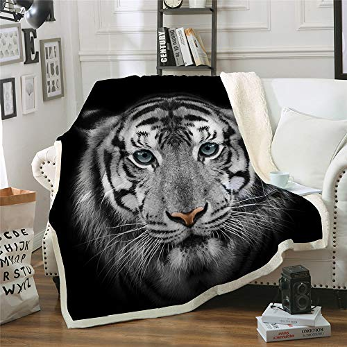 """WONGS BEDDING Tiger Throw Blanket Animal Pattern Throw Blankt Bengal White Tiger Bed Blanket Cozy Sherpa Throw Blanket for All Seasons, Soft Fuzzy Plush Throw Blanket for Couch Sofa Bedroom 60""""x80"""""""