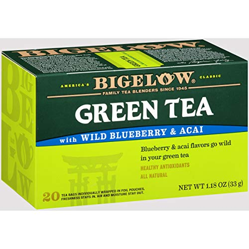Bigelow Green Tea With Wild Blueberry & Acai, 20 Count (Pack of 6), 120 Teabags Total