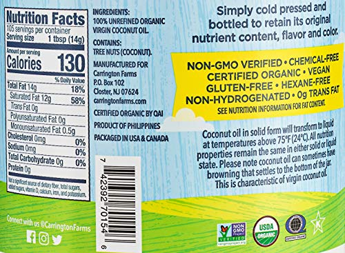 Carrington Farms Gluten Free, Unrefined, Cold Pressed, Virgin Organic Coconut Oil, 54 oz. (Ounce), Coconut Oil For Skin & Hair Care, Cooking, Baking, & Smoothies
