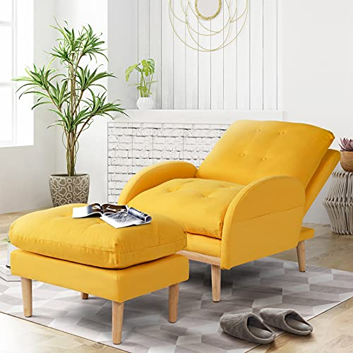 oneinmil Recliner Chair with Ottoman and Side Pocket, Fabric Tufted Cushion Back Recliners, Adjustable Modern Single Armchair, Accent Sofa Recliner Chair for Living Room/Bedroom (Yellow)