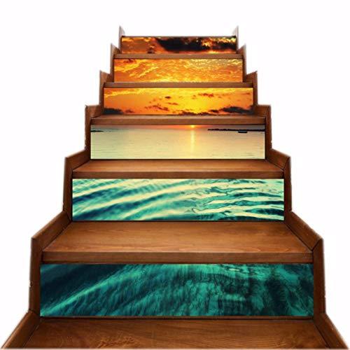 A.Monamour Treppenaufkleber Selbstklebend 3D Muster Ozean Sonnenuntergang Himmel Naturkunst Vinyl Wasserdicht Treppe Aufkleber Fliesenaufkleber Abziehbilder Wandaufkleber Wandtattoos DIY 6 Stücke