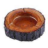 3 Tamaños Redondo Cenicero de Madera del Tabaco de Color Marrón de Hecho a Mano (13-14cm)