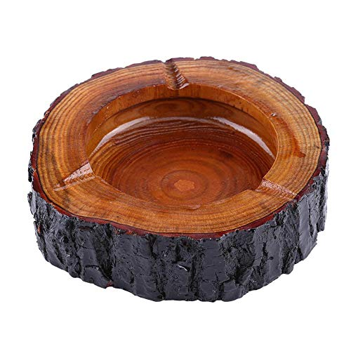 Runder Aschenbecher Aus Holz, Einzigartiger Handgemachter, Brauner Holz Tabak Aschenbecher, Weihnachts Dekorativer Vintage Aschenbecher(13-14cm)