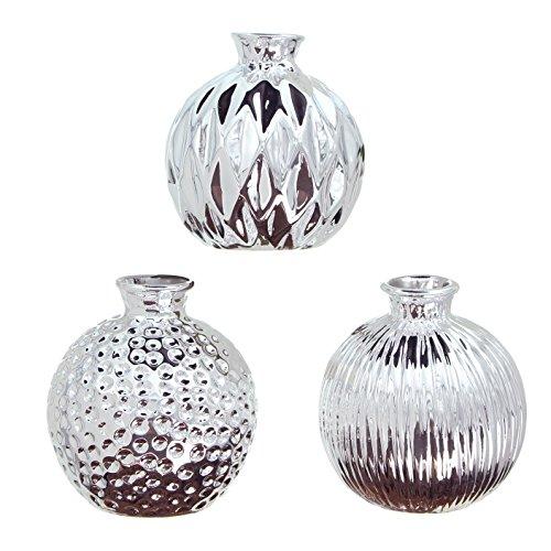 FRANK FLECHTWAREN Vase Silberschein im 3er Set