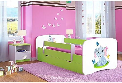 CARELLIA 'Kinderbett Elephant 80 180cm   mit Barriere Sicherheitsschuhe + Lattenrost + Schubladen + Matratze Ofürt. LimettenGrün