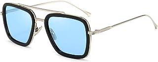 BOJOD Rétro Square Lunettes de soleil Tony Stark Vintage lunettes Métal Cadre pour Hommes Femmes Iron man Lunettes