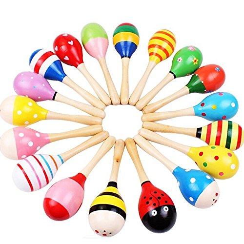 Kentop Baby strumento musicale giocattolo in legno maracas sonaglio shaker musicale giocattolo pedagogico (colore casuale), Legno, Bunte, 12 cm