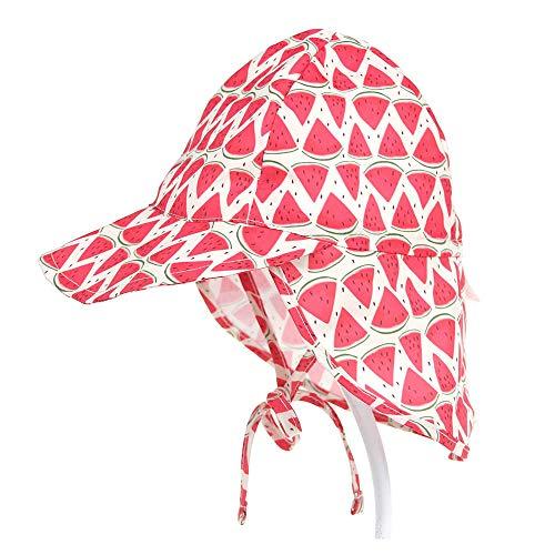 Lazz1on Cappello da Sole Anti UV Spiaggia Cappuccio Traspirante Estate Berretto con Protezione Collo per Bambine Bambino 1-5 Anni