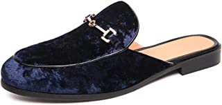 QinMei Zhou Lightweight Clogs Backless Loafer for Men Slip on Slipper Mules Moccasin Boat Shoes Faux Suede Leather (Color : Blue, Size : 7.5 UK)