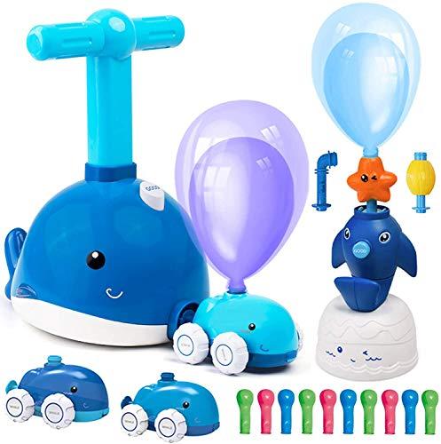 SilverBat Coche con bomba de globos para niños, coche con globo para preescolar, ciencia educativa, juego de lanzador de delfines, juguete de coche STEM ideal para niños y niñas, regalo de cum