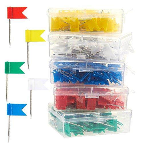 Kaart Vlag Push Pins - 500-Pack Vlag Duim Tacks, Decoratieve Push Pins voor Kurk Board Bulletin Board, Rood, Geel, Groen, Wit en Blauw, 0.7 x 1.3 Inches