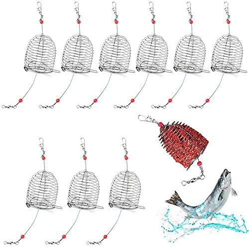PERFETSELL 10 Pcs Cebadores Pesca Cebador Carpa Jaula de Cebo de Pesca Cebadores para Pescar Carpas 4x4.9cm Alimentadores para Pescar Carpa Anguilas Cangrejos Cebador Carpa con un Hilo de Acero 18.5cm