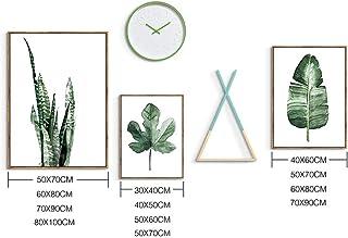 モーデン北欧スタイルグリーンは壁画アートワーク絵画1ホームデコレーションオフィスの壁にリビングルームのベッドルームのバスルームの装飾、5用のキャンバスウォールアート植物 (Color : Light Wood, Size : M)