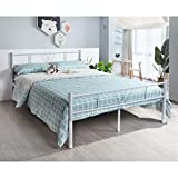Full Size Bed Frame Platform Mattress Foundation with Headboard Footboard, Modern Metal Bed Base Double Bedframe with Steel Slat Support, No Box Spring Needed & Easy Assembly, White