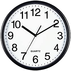 Bernhard Products Black Wall Clock, Large 13-Inch Silent Non Ticking Quartz Battery Operated Round Easy to Read Classroom/Home/School/Office Clock