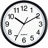 Bernhard Products Black Wall Clock, Large 13-Inch Silent Non Ticking Quartz Battery Operated Ro…