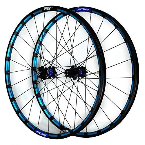 ZFF Mountain Bike Wheelset 26/27.5 Inch CNC Color Rim Disc Brake MTB Front Rear Wheel 7 8 9 10 11 12 Speed Cassette Quick Release (Color : Blue a, Size : 26in)