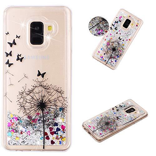 Miagon Flüssig Hülle für Samsung Galaxy J6 2018,Glitzer Weich Treibsand Handyhülle Glitter Quicksand Silikon TPU Bumper Schutzhülle Case Cover-Löwenzahn Schmetterling