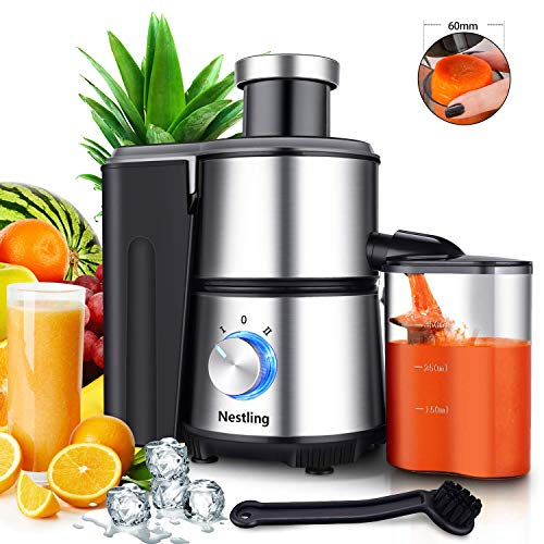 HEWEI Centrifugal juice fruit and vegetables without handle 2-speed juice machine MAX 600W anti-drip function non-slip feet stainless steel and BPA-free