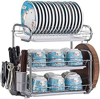 DJSMsnj Rangement de cuisine, égouttoir à vaisselle en métal à trois étages pour cuisine - Deux styles de rangement pour c...