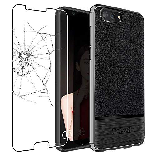 ebestStar - kompatibel mit Huawei Honor View 10 Hülle Lederhülle Design TPU Handyhülle Schutzhülle, Flex Silikon Hülle, Schwarz +Panzerglas Schutzfolie [Phone: 157x75x7mm 5.99