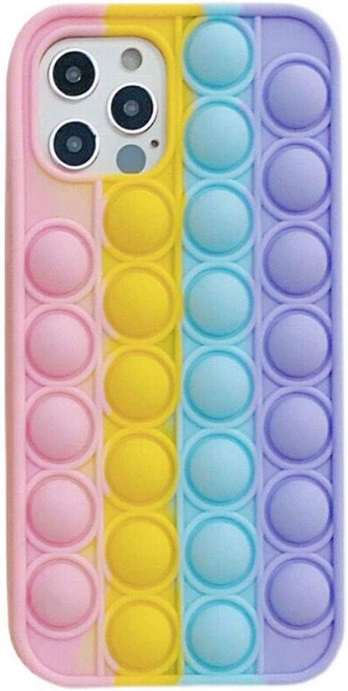 Fidget Toys Phone Case for iPhone 6/7/8/SE2, Clysburtuony Soft Silicone Push Pop Bubble case for iPhone 6/7/8/SE2 (Rainbow, iPhone 6/7/8/SE2)