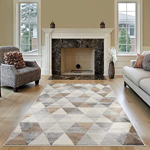 mynes Home Tapis moderne à poils courts en beige, gris, marron avec motif géométrique triangulaire, convient également comme tapis de salon et chambre d