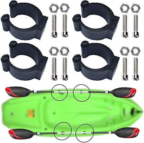 4x Clip universal para remo de kayak con herrajes – montado en la cubierta/montaje en pista de almacenamiento y clip de red de pesca, organizador de caña de pescar, soporte de remo vertical montado