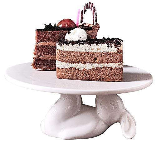 YBK Tech Strength Porcelain Novelty Bunny Rabbit Cake Display Stand Cupcake Stand (12-inch)