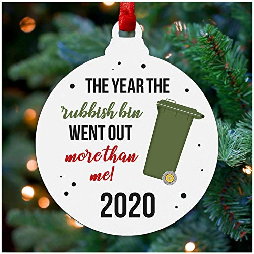 Funny Lockdown Christmas Decoration - Rubbish Bin Christmas Bauble Ornament for Family, Best Friends, Husband, Wife, Boyfriend, Girlfriend - Quarantine Lockdown Keepsake Gifts