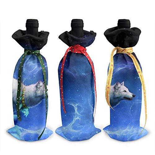 Weinflaschen-Abdeckung, Motiv: Mond, weißer Wolf, 3 Stück