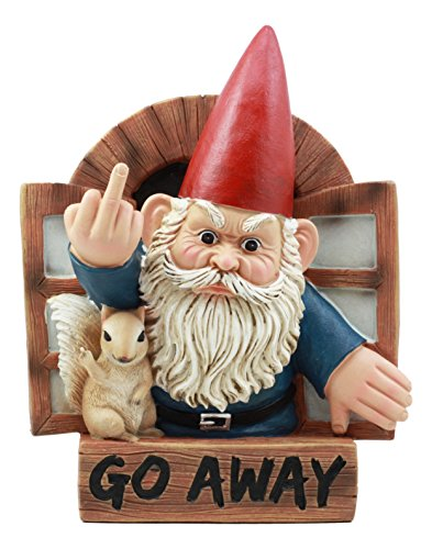 Ebros Go Away Rude Gnome and His Squirrel at The Window Flipping Off Guests Wall Decor 9 H Whimsical Grumpy Gnome Wall Plaque