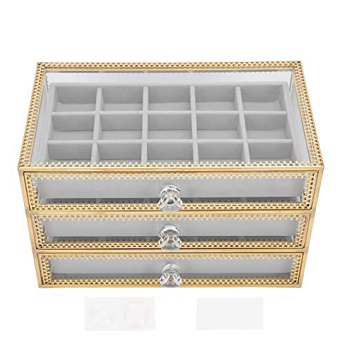 Estuche organizador de almacenamiento de maquillaje cosmético transparente Caja de almacenamiento de accesorios de uñas 3 capas para escuela de arte de uñas para amantes del arte de uñas